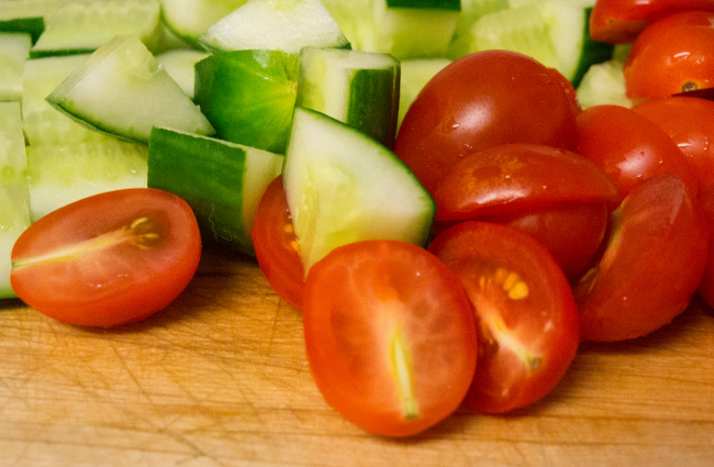 cherry tomatoes and cucumbers
