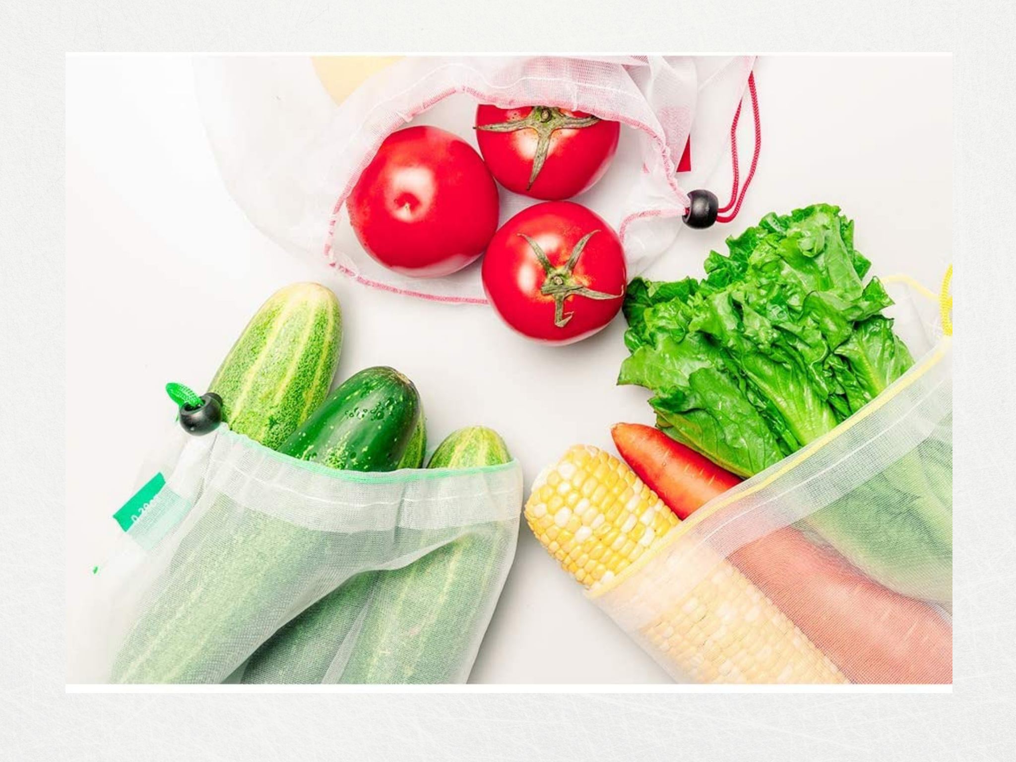 Produce in reusable mesh bags