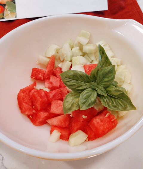 chopped watermelon and cucumbers