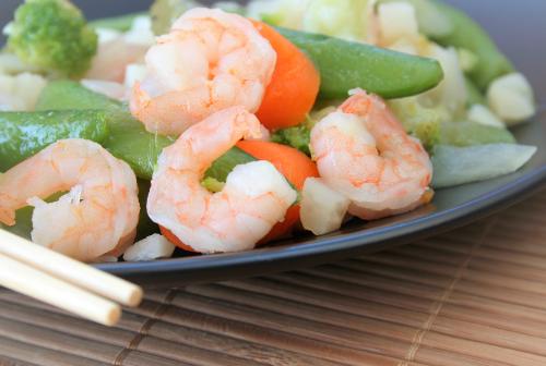 Shrimp + Asparagus Stir-Fry with Lemon Vinaigrette